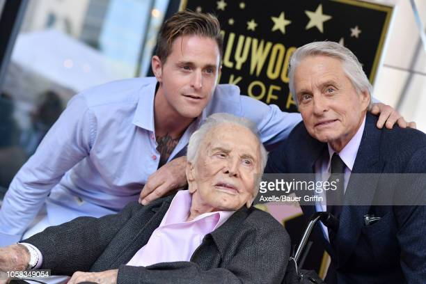 Cameron Douglas Kirk Douglas and Michael Douglas attend the ceremony honoring Michael Douglas with star on the Hollywood Walk of Fame on November 06...