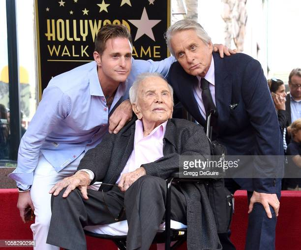 Cameron Douglas Kirk Douglas and Michael Douglas pose at the Michael Douglas Star On The Hollywood Walk Of Fame ceremony on November 6 2018 in...