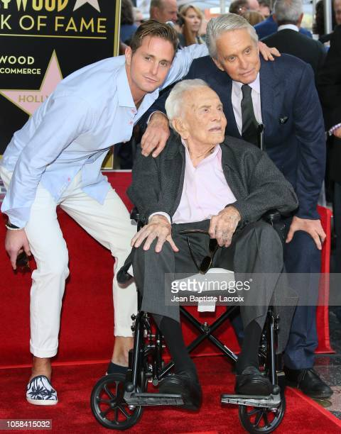 Cameron Douglas Michael Douglas and Kirk Douglas pose at the Michael Douglas Star On The Hollywood Walk Of Fame ceremony on November 6 2018 in...