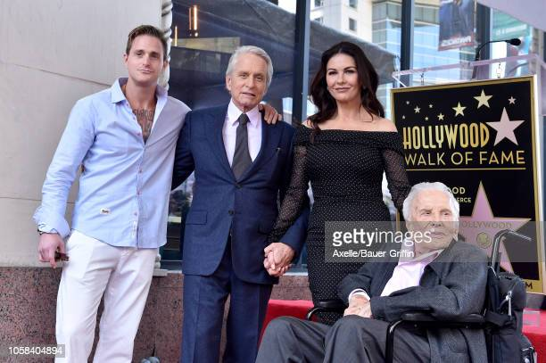 Cameron Douglas Michael Douglas Catherine ZetaJones and Kirk Douglas attend the ceremony honoring Michael Douglas with star on the Hollywood Walk of...