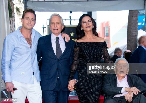 Cameron Douglas Michael Douglas Catherine ZetaJones and Kirk Douglas attend the ceremony honoring actor Michael Douglas with a Star on Hollywood Walk...