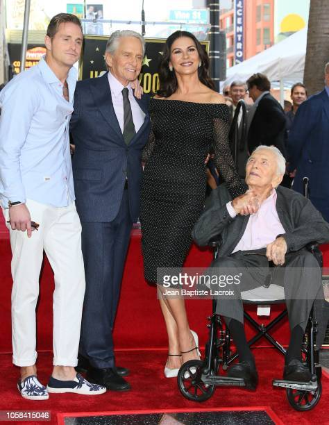 Cameron Douglas Michael Douglas Kirk Douglas and Catherine ZetaJones pose at the Michael Douglas Star On The Hollywood Walk Of Fame ceremony on...