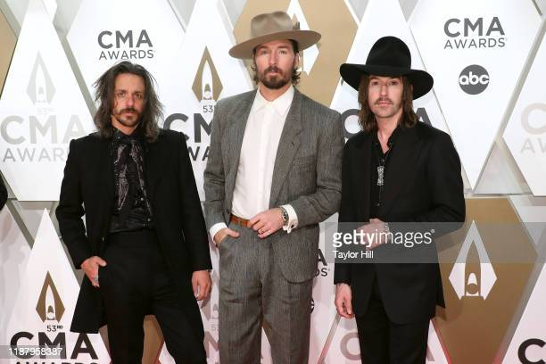 Cameron Duddy Mark Wystrach and Jess Carson attend the 53nd annual CMA Awards at Bridgestone Arena on November 13 2019 in Nashville Tennessee