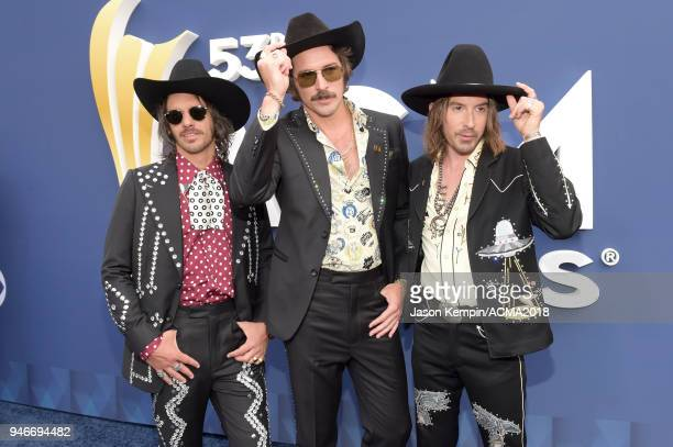Cameron Duddy Mark Wystrach and Jess Carson of Midland attend the 53rd Academy of Country Music Awards at MGM Grand Garden Arena on April 15 2018 in...