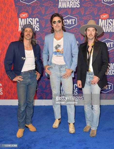 R Cameron Duddy Mark Wystrach and Jess Carson of musical group Midland attends the 2019 CMT Music Awards at Bridgestone Arena on June 05 2019 in...