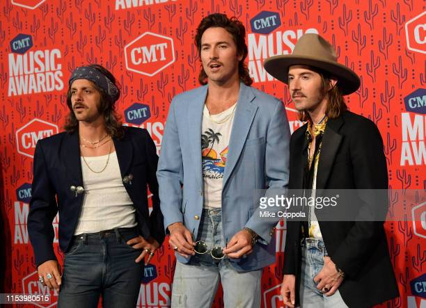 Cameron Duddy Mark Wystrach and Jess Carson of musical group Midland attend the 2019 CMT Music Awards at Bridgestone Arena on June 05 2019 in...
