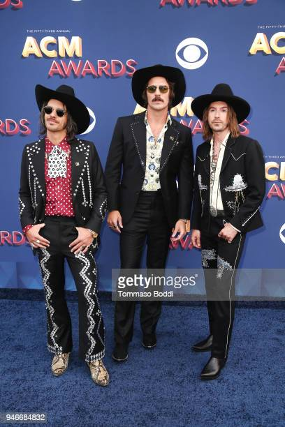 Cameron Duddy Mark Wystrach and Jess Carson of musical group Midland attend the 53rd Academy of Country Music Awards at MGM Grand Garden Arena on...
