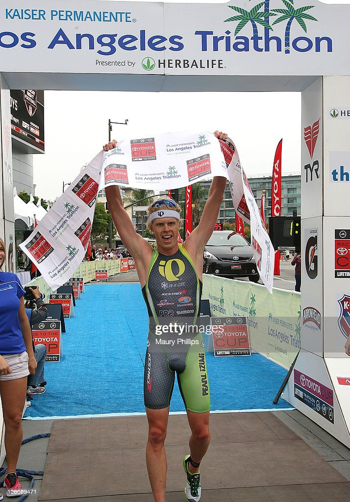 Cameron Dye finishes first during The LA Triathlon presented by Herbalife on September 25, 2011 in Los Angeles, California.