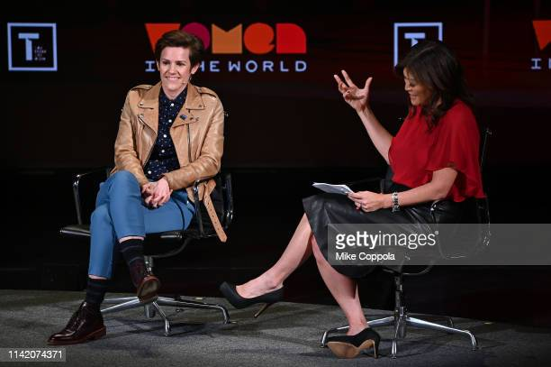 Cameron Esposito and Juju Chang speak onstage at the 10th Anniversary Women In The World Summit Day 2 at David H Koch Theater at Lincoln Center on...