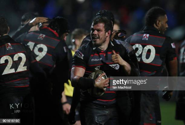 Cameron Fenton of Edinburgh Rugby celebrates after scoring his team's fourth try during the Guinness Pro14 match between Edinburgh Rugby and Southern...