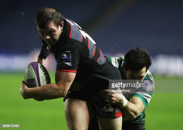 Cameron Fenton of Edinburgh scores his side's eleventh try during the European Rugby Challenge Cup match between Edinburgh and Krasny Yar at...