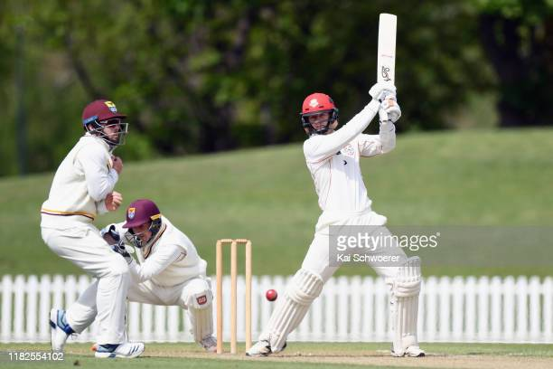 Cameron Fletcher of Canterbury bats during the Plunket Shield match between Canterbury and Northern Districts at Hagley Oval on October 22 2019 in...