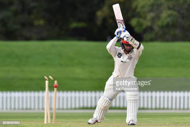Cameron Fletcher of Canterbury is bowled by Iain McPeake of Wellington during the Plunket Shield match between Canterbury and Wellington on March 29...