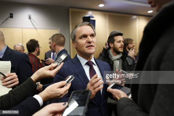 Cameron Friesen Manitoba's finance minister speaks to members of the media after a press conference with Bill Morneau Canada's finance minister not...