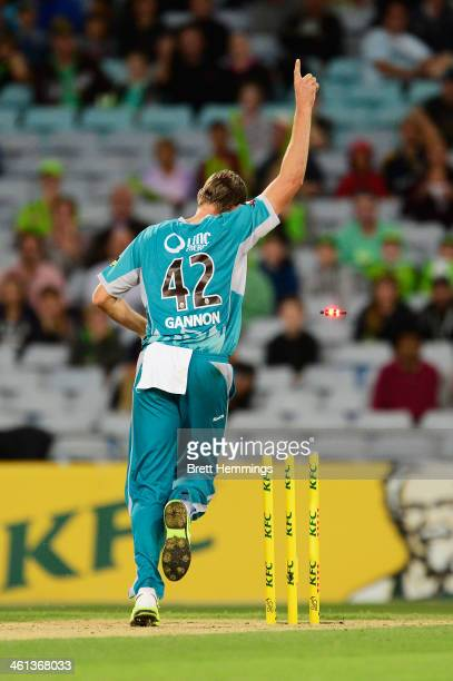 Cameron Gannon of the Heat celebrates the run out wicket of Gurinder Sandhu of the Thunder by James Hopes of the Heat during the Big Bash League...