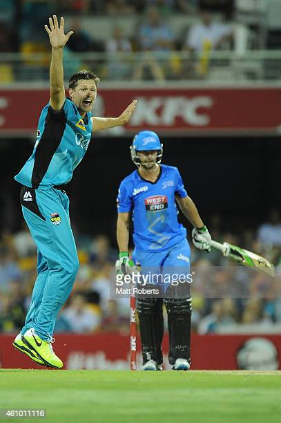 Cameron Gannon of the Heat celebrates the wicket of Alex Ross of the Strikers during the Big Bash league match between the Brisbane Heat and the...