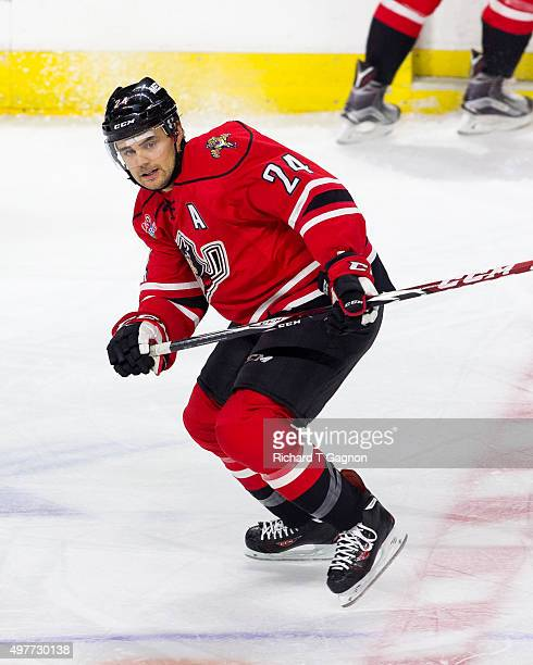 Cameron Gaunce of the Portland Pirates skates during an American Hockey League game at the Dunkin' Donuts Center on November 15 2015 in Providence...
