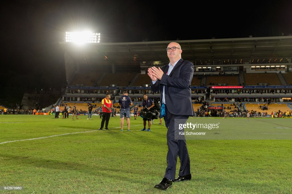 CEO Cameron George of the Warriors reacts after the win in the round five NRL match between the New Zealand Warriors and the North Queensland Cowboys at Mt Smart Stadium on April 7, 2018 in Auckland, New Zealand.