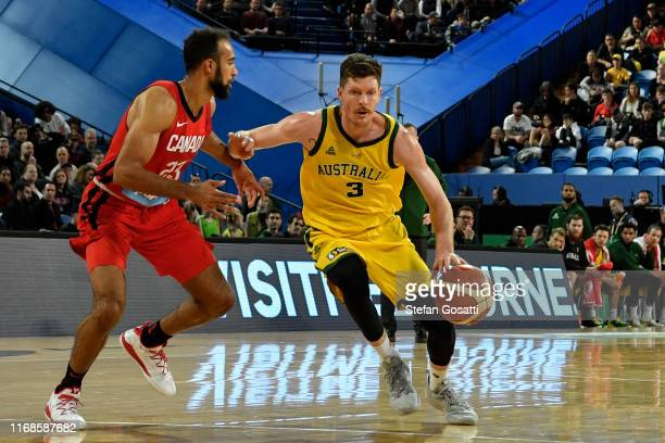 Cameron Gliddon of Australia controls the ball during the International Basketball friendly match between the Australian Boomers and Canada at RAC...