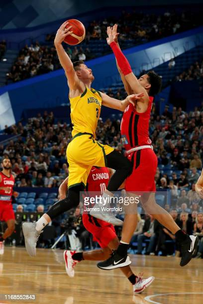 Cameron Gliddon of Australia leaps towards the basket during the International Basketball friendly match between the Australian Boomers and Canada at...