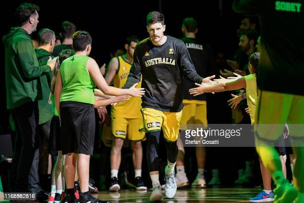 Cameron Gliddon of Australia takes to the court during the International Basketball friendly match between the Australian Boomers and Canada at RAC...
