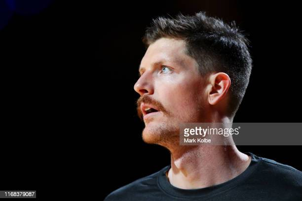 Cameron Gliddon of Australia watches on during the warm-up before the International Basketball Friendly match between Australian Boomers and Canada...
