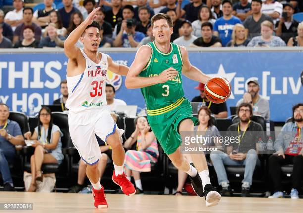 Cameron Gliddon of the Boomers drives to the basket during the FIBA World Cup Qualifier match between the Australian Boomers and the Philippines at...