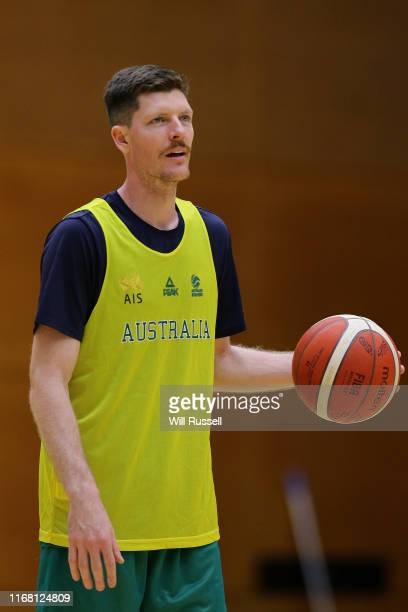 Cameron Gliddon of the Boomers looks on during an Australian Boomers National Basketball Team Training Session at Bendat Basketball Centre on August...