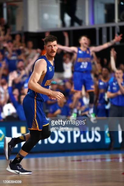 Cameron Gliddon of the Bullets looks on after making a basket during the round 20 NBL match between the Brisbane Bullets and the Cairns Taipans at...