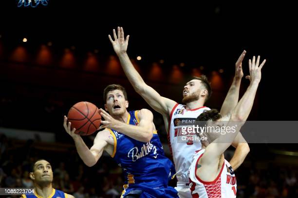 Cameron Gliddon of the Bullets shoots during the round 10 NBL match between the Brisbane Bullets and the Perth Wildcats at Brisbane Convention...