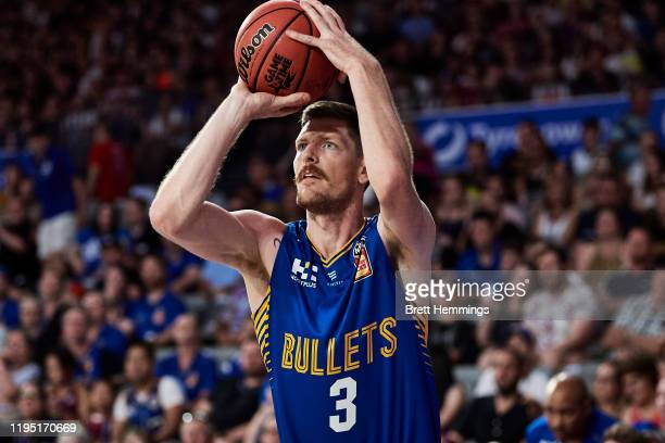 Cameron Gliddon of the Bullets shoots during the round 12 NBL match between the Brisbane Bullets and the Sydney Kings at Nissan Arena on December 21,...