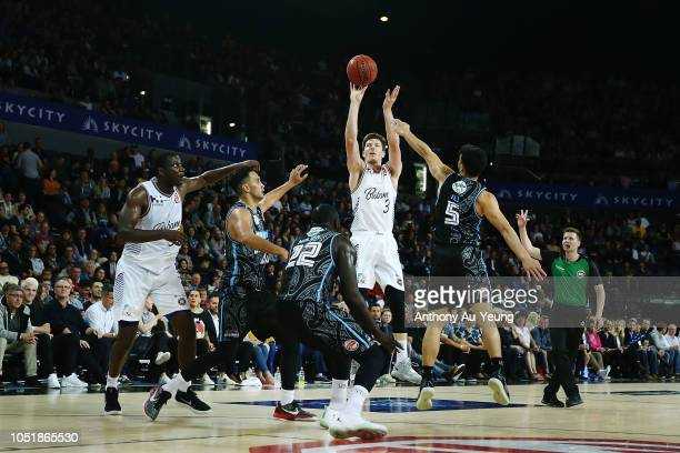 Cameron Gliddon of the Bullets takes a three pointer during the round one NBL match between the New Zealand Breakers and the Brisbane Bullets at...