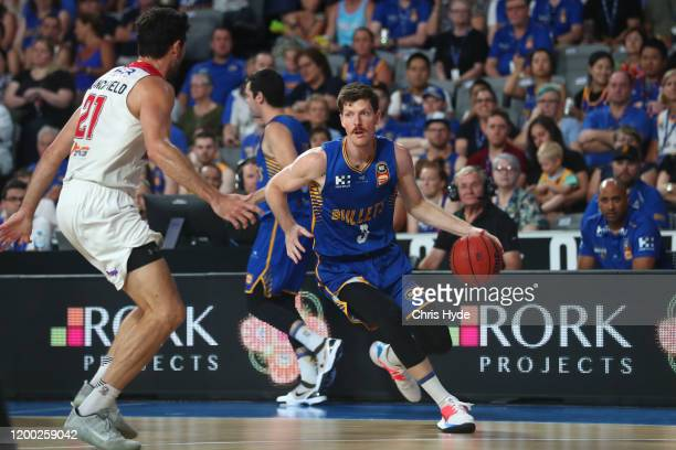Cameron Gliddon of the Bullets takes the ball up during the round 16 NBL match between the Brisbane Bullets and the Illawarra Hawks at Nissan Arena...