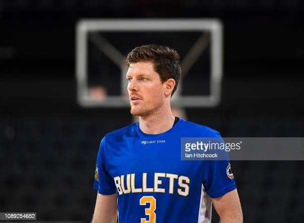 Cameron Gliddon of the Bullets warms up before the start of the round 12 NBL match between the Cairns Taipans and the Brisbane Bullets at Cairns...