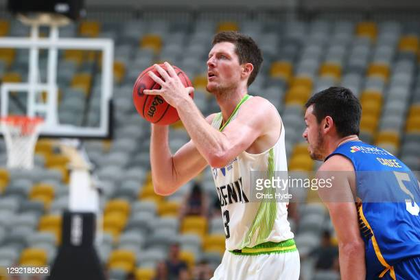 Cameron Gliddon of the Phoenix shoots during the NBL Pre-Season match between the Brisbane Bullets and the South East Melbourne Phoenix at the Gold...