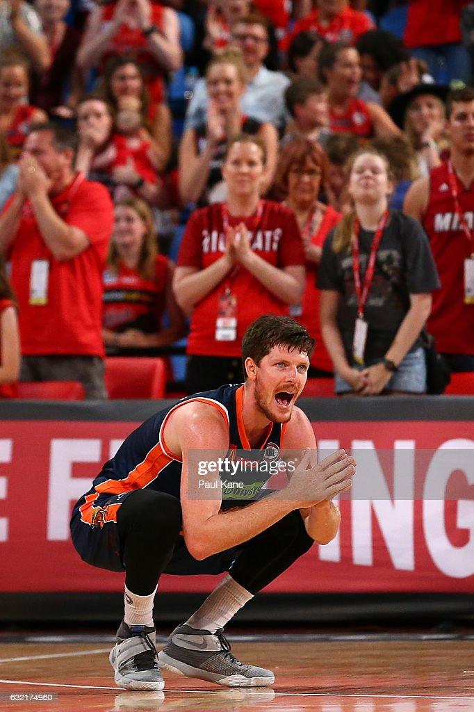 Cameron Gliddon of the Taipans reacts after Bryce Cotton of the Wildcats was fouled in the dying seconds of the game during the round 16 NBL match between the Perth Wildcats and the Cairns Taipans at Perth Arena on January 20, 2017 in Perth, Australia.