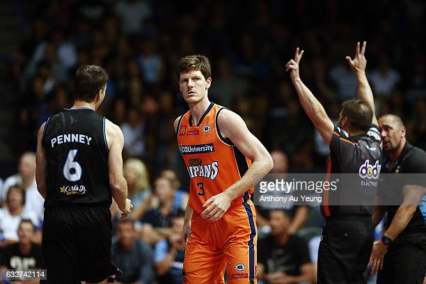 Cameron Gliddon of the Taipans reacts after scoring a three pointer during the round 17 NBL match between the New Zealand Breakers and the Cairns...