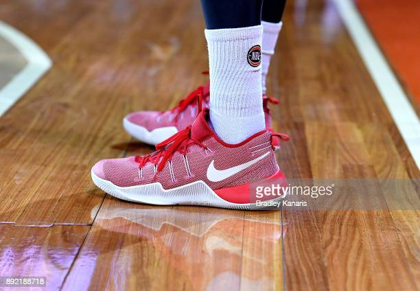 Cameron Gliddon of the Taipans wears Nike branded shoes in aid of a charity during the round 10 NBL match between the Cairns Taipans and the Brisbane...