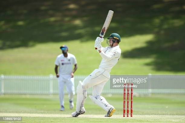 Cameron Green of Australia A bats during day three of the International Tour match between Australia A and India A at Drummoyne Oval on December 08,...