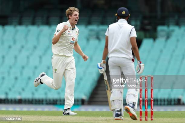 Cameron Green of Australia A celebrates after claiming the wicket of Shubman Gill of India during day one of the tour match between Australia A and...