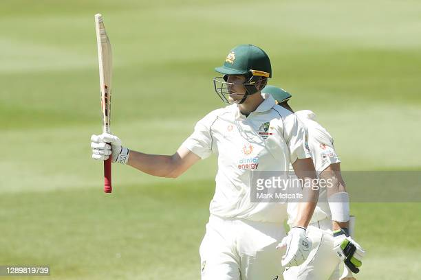 Cameron Green of Australia A celebrates and acknowledges team mates after hitting a half century during day two of the three-day tour match between...