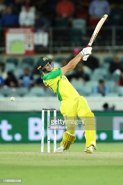 Cameron Green of Australia bats during game three of the One Day International series between Australia and India at Manuka Oval on December 02, 2020...
