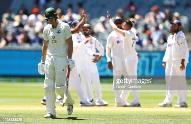 Cameron Green of Australia walks off after he was dismissed during day four of the Second Test match between Australia and India at Melbourne Cricket...