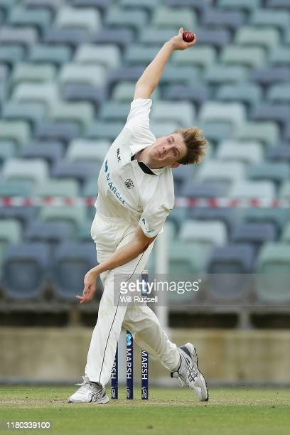 Cameron Green of the Warriors bowls during day two of the Sheffield Shield match between Western Australia and Tasmania at WACA on October 11 2019 in...