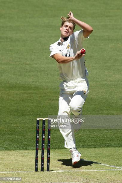 Cameron Green of the Warriors bowls during the Sheffield Shield match between Western Australia and New South Wales at Perth Stadium on November 27...