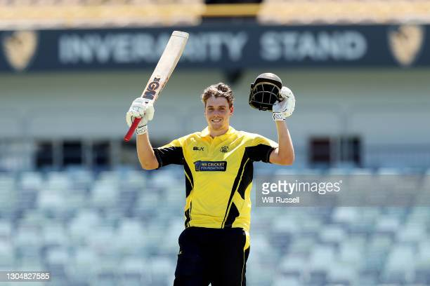 Cameron Green of the Warriors celebrates his century during the Marsh One Day Cup match between Western Australia and South Australia at WACA on...