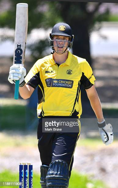 Cameron Green of the Warriors celebrates making his half century during the Marsh One Day Cup match between South Australia and Western Australia at...