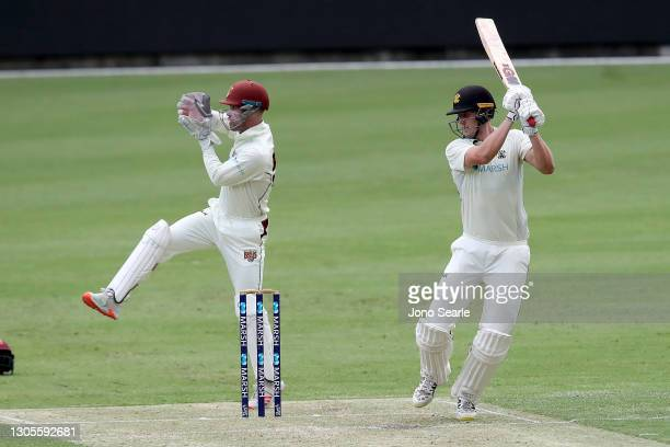 Cameron Green of WA bats during day one of the Sheffield Shield match between Queensland and Western Australia at The Gabba on March 06, 2021 in...