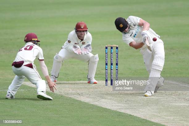 Cameron Green of WA brings hits a six during day one of the Sheffield Shield match between Queensland and Western Australia at The Gabba on March 06,...