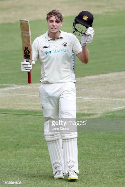 Cameron Green of WA brings up 100 runs during day one of the Sheffield Shield match between Queensland and Western Australia at The Gabba on March...